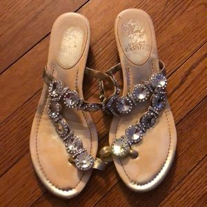 Vince Camuto Sandals 8 8.5 Gold crystals